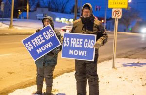 Volunteers give out free gas around Easter.